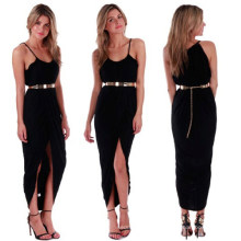 2015 Sexy Asymmetry Fashion Split Maxi Dress with Belt
