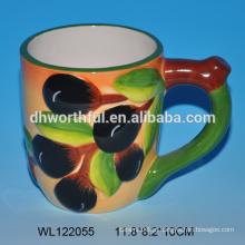 2016 novo estilo cerâmica caneca com azeitona padrão com alça