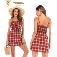 Sommer Plaid Strap Kleid rückenfreie Spitze kurzes Kleid