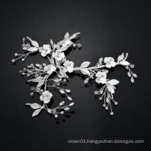 Homemade Sliver Flower Bride Headpiece Wedding Bridal Noiva Hair Jewelry Accessories For Women