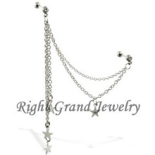 16G Crystal Barbell Star Chain Tragus Ear Piercing Jewelry