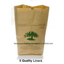 Sac à déchets en papier et déchets de feuilles