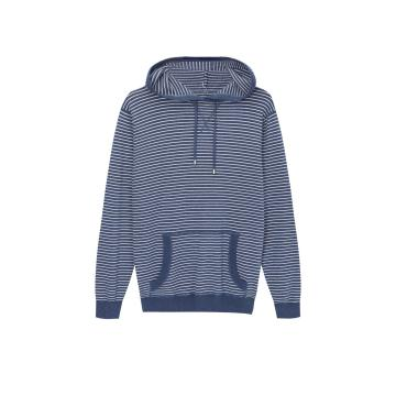 Gestrickter Athletic Striped Kangaroo Pocket Hoodie für Herren