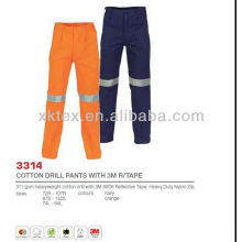 Pantalones de trabajo de taladro de algodón con reflectante