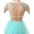 Elegant Sleeveless Backless Lace Beaded Short Chiffon Evening Dress