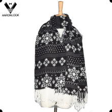 Fashion Snowflake Pattern Printed Scarf with Fringes