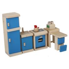 Wooden Mini Möbel Spielzeug Blue Kitchen Pretend Spiel Toy YT1113