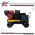 Compresor de aire diesel eléctrico del generador del soldador de Slient 5.5kw con el compresor de aire del motor de la gasolina hecho en China