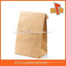 Branco / marrom promocional tamanho personalizado plano baixo novo estilo lado gusset pacote para chá / café