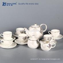 Bone China 6 Person Sets Weiß Royal Eco Fine Keramik vergoldeten Kaffee-Set
