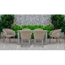 2017 Hot Trendy Poly PE Rattan Dining Set Table Outdoor Garden Furniture