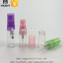 al por mayor pequeño 2 ml 5 ml logo impreso botellas de pulverización de aerosol de vidrio vacío recargado de perfume