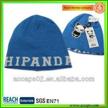 Blue Custom design fashionable jacquard acrylic beanie BN-2007