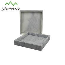 Umweltfreundlicher natürlicher Marmorstein-Serviertablett-Schiefer-Marmorbehälter