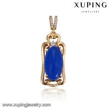 32920 vente chaude bijoux de la fille noble conception simple ovale en forme de pierres précieuses imitation pendentif coloré
