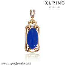 32920 Hot sale noble girl's jewelry simple design oval shaped imitation gemstone colorful pendant