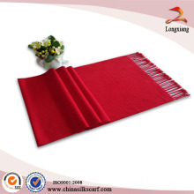 Plain Red Color Brushed Chinese Silk Scarf