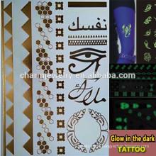 OEM marcas de moda por atacado brilham na etiqueta tatuagens temporária escuro para adultos GLIS004