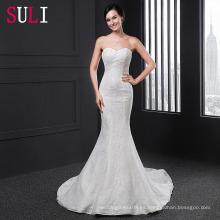 SL026 2016 princesa con tren desmontable mangas largas sirena vestido de novia de encaje