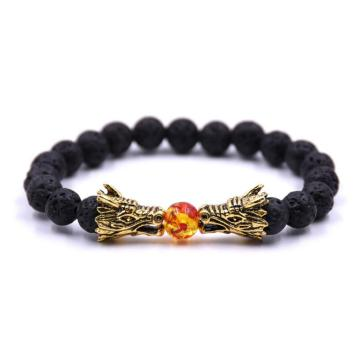 Dragon Head Lava stone 8MM Beaded Bracelet