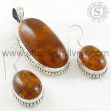 La joyería ambarina de la plata de la piedra preciosa de la vendimia fijó 925