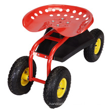 Four Wheels Metal Steel Garden Work Seat Cart