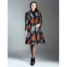 Outono moda bordado 2017 senhoras Long Trench Coat