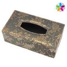 Flower Design Leather Tissue Box (ZJH078)
