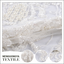 Oem fashion hand lace pearl beaded bridal veil tulle fabric