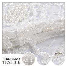 Oem moda mão rendas pérola frisada véu de noiva tecido de tule