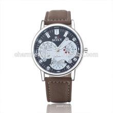 2016 Новый модный роскошный кожаный наручный кварцевый наручный часы SOXY045