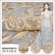 Top qualité belle foma conception broderie tulle tissu pour la robe de mariée en dentelle