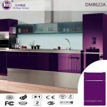 Gabinete de cocina de color púrpura elegante para el mercado de Asia