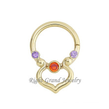 14 Gauge Gold Plated Vintage Brass Nose Piercing Faux Septum Jewelry