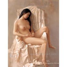 Pintura al óleo desnuda hermosa pintada a mano de la muchacha china desnuda