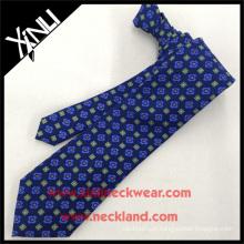Teste padrão azul da verificação da venda quente na moda superior a mais nova dos homens para o laço de seda