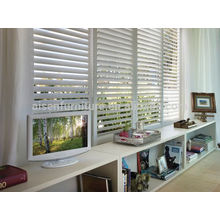 Nuevo diseño Europa interior blanco PVC plantación ventana obturador en bi-fold & deslizante