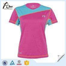 Оптовые женщины Breathable V-образным вырезом спортивная футболка Soprt износ