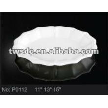 Durable plain white ceramic cake plate / fruit plate/ dessert plate (No.P0112)