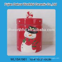 Модный рождественский орнамент керамический сосуд для хранения с рисунком снеговика