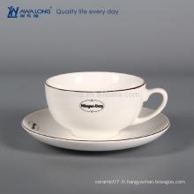 Pure White Custom Coffee Cup pour le café à faire, la tasse de café en porcelaine et la soucoupe