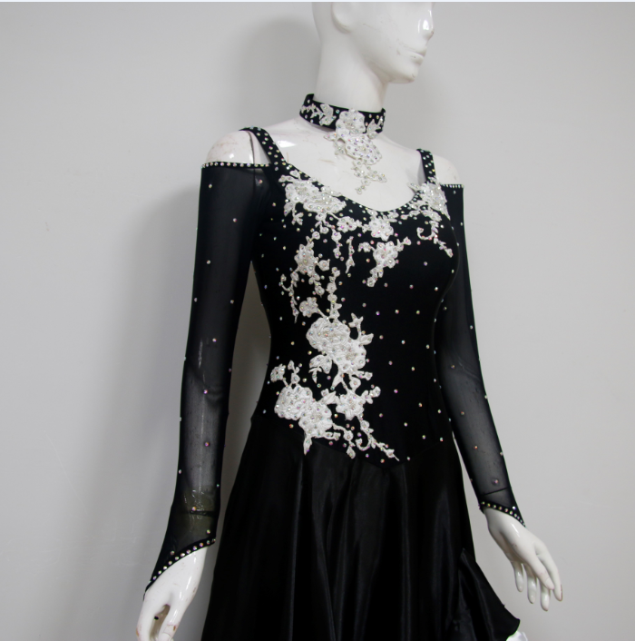 Ladies Black Ballroom Dance Costumes