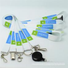 Lanières de cou de logo faites sur commande de polyester pour le titulaire de carte de visite