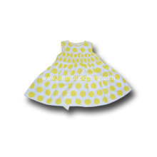 yellow dots cotton princess dress