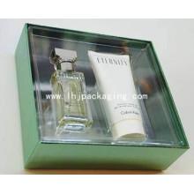 Caixa de papel de embalagem de perfume de alta qualidade com janela de plástico e PVC / Pet Cover