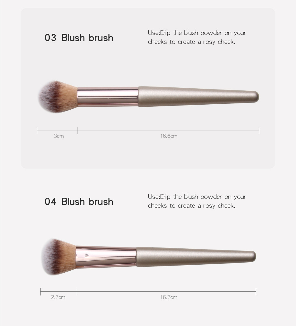 4 Piece Champagne Gold Makeup Brushes set size 2
