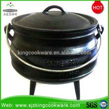 Venda quente panela de fogo de ferro fundido, potes de ferro fundido antigo, ferro fundido panela quente