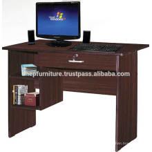Mesa de ordenador de madera con estante y cerradura de cajón