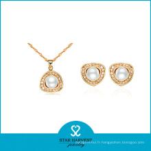 Ensemble de bijoux en argent plaqué or de mode mariage (J-0064)