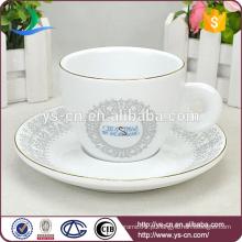 Atacado Decal elegante copo de cerâmica e Saucer